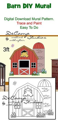 DIY Barn Wall Art Mural Pattern Printable Digital Download for baby girl barnyard nursery or kids room decor. Do it Yourself Trace and Paint by Number. Also great for church nursery, childcare, pediatric office, and preschool #decampstudios