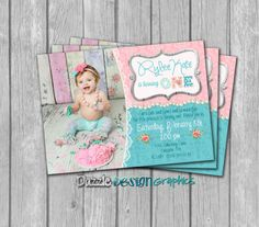 Printable Shabby Chic Birthday Invitation! This so sweet, shabby chic card contains one photo, customizable name, greeting, and event