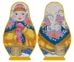 Counted Cross Stitch Russian Doll Matreshka Winter, two-sided design