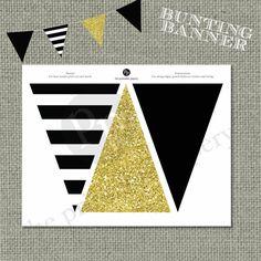 Printable Bunting Banner   Black & Gold Glitter Decor   Instant Download   DIY   No. BAN-121