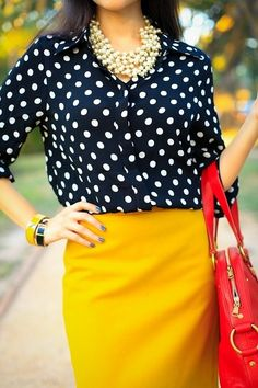 Classy mustard yellow skirt, black/white polka dot shirt, pearls, and a pop of red? what's NOT to LOVE about this outfit? Mustard Yellow Skirts, Mustard Skirt, Yellow Pants, Yellow Blouse, Polka Dot Shirt, Polka Dots, Work Attire, Casual Attire, Casual Outfits