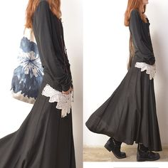Lotus leaf embroidery long skirt Q3108 by idea2lifestyle on Etsy