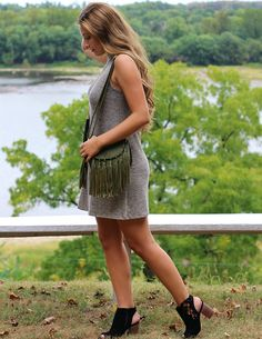 A neutral mock neck dress is our favorite for fall.