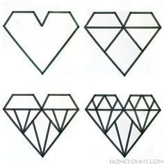 I made this geometric diamond-ish design in the above steps. Making the heart outline was the hardest part since that's where I had to decide the heart ...