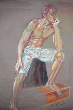 """Portrait of a Friend  This pastel portrait is of a young man I once knew named Brian Haag.   Pastel on grey paper 22"""" x 30"""""""