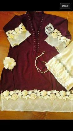 Plain shirt style with embellishments Pakistani Formal Dresses, Pakistani Fashion Casual, Pakistani Dress Design, Salwar Suit Neck Designs, Salwar Designs, Dress Designs, Stylish Dresses, Simple Dresses, Casual Dresses