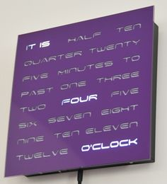 Word Clock - This purple clock really turned out beautifully with a Space font - I love it.  www.dougswordcloc...