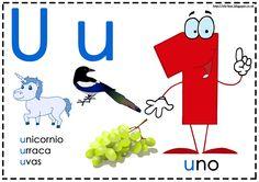 Asociamos los sonidos con las grafías convencionales - Letra u - La pedagogía Montessori divide las vocales y consonantes en dos colores: azul y rojo/rosa.