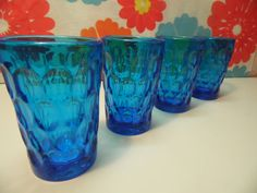 Fenton Colonial Blue Thumbprint Juice Glasses by DottieDigsVintage