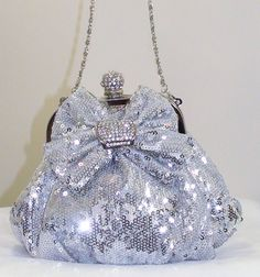 Silver Sequin & Crystal Evening Bag Clutch Handbag Purse #Prom #Wedding #Holiday Party.