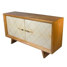 Two Door Parchment and Sycamore Cabinet by Suzanne Guiguichon