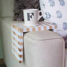 Create a space-saving hardwood table that wraps the arm of your sofa!