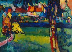 Titre de l'image : Vassily Kandinsky - Oberbayerische Kleinstadt (Murnau) Art Kandinsky, Wassily Kandinsky Paintings, Landscape Art, Landscape Paintings, William Turner, Monet, Post Impressionism, Art Abstrait, Colorful Paintings