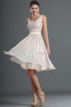Chiffon Schaufel-Ausschnitt natürliche Taile schlichtes Abschlusskleid/ Brautjungfernkleid