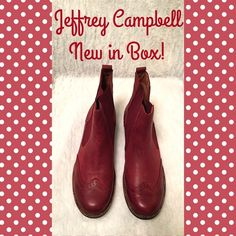 """JEFFREY CAMPBELL Capstain Boots NEW in BOX Perfect new in box Jeffrey Campbell ankle boots """"Capstain"""". The color is """"Wine Distressed."""" Wingtip styling in front with a stretch area on the side for easy on. Jeffrey Campbell Shoes Ankle Boots & Booties"""