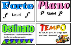 Classroom Resources - Ms. Mangusso's Music class, lots of printouts for a word wall