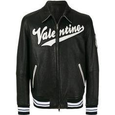 Valentino varsity leather bomber jacket ($4,395) ❤ liked on Polyvore featuring men's fashion, men's clothing, men's outerwear, men's jackets, black, mens leather flight jacket, mens summer jackets, mens collared jacket, mens leather bomber jacket and mens leather jackets