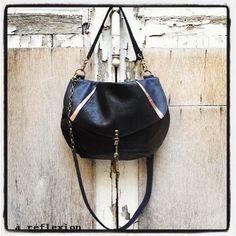 Bleu nuit Shiny black + Black + Navy + Dark gold = New colors ! #upcycled #leather #bag #madeinfrance #frenchfashion