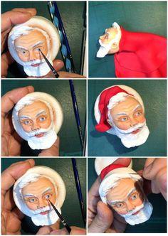 Santa Claus topper tutorial  #1: Santa's head tutorial