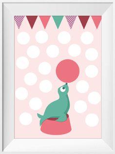 Poster met circus zeehond in mintgroen & roze A4. Deze vrolijke zeehond in mint geeft een mooie show met de bal voor je kleine dreumes! Een feestelijke poster om de babykamer & kinderkamer van kleine meisjes mee te decoreren. Geprint op 250 grams papier met matte afwerking. verzonden als brievenbuspost. Ontwerp Hayah, betreft A4 poster excl. lijst.