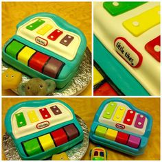 Toy piano cake made with fondant. Food License, Jewel Cake, Piano Cakes, Cake International, Bakery Kitchen, Girl Cakes, Baby Cakes, Little Tykes, Personalized Cakes