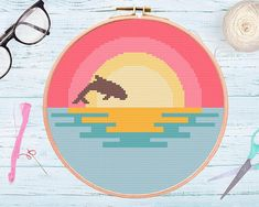 Awesome Most Popular Embroidery Patterns Ideas. Most Popular Embroidery Patterns Ideas. Easy Cross Stitch Patterns, Simple Cross Stitch, Cross Stitch Designs, Floral Embroidery Patterns, Embroidery Kits, Cross Stitch Embroidery, Embroidery For Beginners, Cross Stitching, Beautiful Sunset