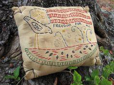 Patriotic Americana Primitive Hand Embroidered by WickedlyCreative, $15.00