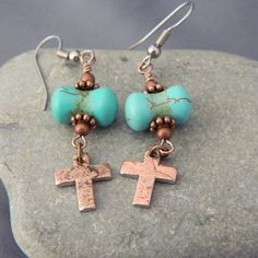 Turquoise and Copper Penny Cross Earrings by WireNWhimsy on Etsy