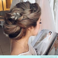 wedding hair hair long up wedding hair hair guest wedding hair updos hair style for short hair in wedding hair wedding hair dos Fancy Hairstyles, Bride Hairstyles, Hairstyle Ideas, Simple Hairstyles, Grecian Hairstyles, Bridesmaid Hairstyles, Beautiful Hairstyles, Latest Hairstyles, Bun Hairstyles