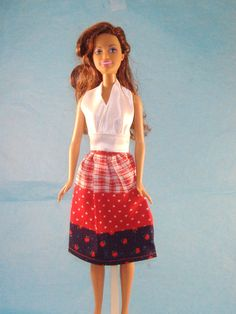Handmade Barbie Classy Summer Skirt and Halter Top - Patchwork Rows of Reds, Blue, White, Hearts, Apples and Plaid