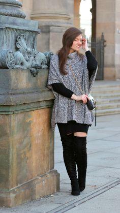 poncho, overknees, winteroutfit, winter look, winter outfit, ootd, streetstyle, streetwear, streetfashion, girl, rebecca minkoff mini mac