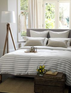 Coastal stripe natural linen bedding