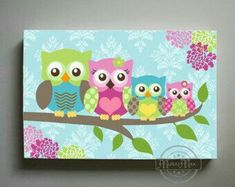 Owl Family Wall Art in Pink - Large Panoramic canvas art - Owl Nursery - Owl Childrens Art - Childrens Room -Nursery wall art Baby Owl Nursery, Owl Nursery Decor, Nursery Canvas Art, Owl Canvas, Baby Girl Room Decor, Baby Owls, Canvas Prints, Elephant Nursery, Owls Decor