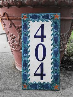 Custom Hand Painted  Fish  House Number Tile by carmenstiles