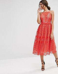 ASOS | ASOS Premium Occasion Midi Dress In Geo Lace