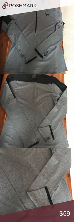 NIP VS PINK ULTIMATE MESH DEEP ZIP PULLOVER SZ M NIP VS PINK ULTIMATE MESH DEEP ZIP PULLOVER VS SAY COLOR IS BLACK BUT ITS A DEEP GREY WITH BLACK LOGO SZ M MESH DETAILS LOGO COLLAR GREY WITH BLACK LOGO AND TRIM AROUND THE CUFFS PINK Victoria's Secret Tops Sweatshirts & Hoodies