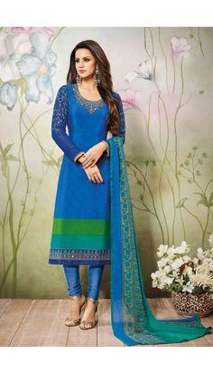 #Gorgeous #Blue #Crepe #Churidar Suit With #Dupatta - DMV15057