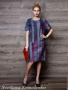 Felted dress | Купить или заказать Валяное платье 'Тиффани' в интернет-магазине на Ярмарке Мастеров. Платье выполнено в технике нуно-фелтинг. Натуральный шелк ручного крашения с двух сторон и совсем немного шерсти мериноса. Легкое, комфортное. Платье на каждый день и идеально для офиса. Прямой силуэт. Можно носить с поясом. Длина 98 см. Рост модели 174 см. Модель имеет 42 размер. Платье велико модели. Платье на 46-48 р…