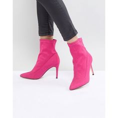 Faith Bow Hot Pink Suede Sock Boots (5,735 INR) ❤ liked on Polyvore featuring shoes, boots, pink, hot pink shoes, pink ballet shoes, suede sock boots, bow boots and pointed-toe boots