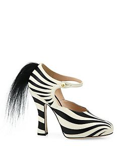 Gucci Lesley Zebra Leather & Fur Pumps....Shoes with a sense of humor....lol