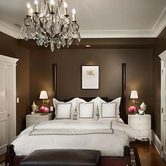 dark brown walls and crisp white trim
