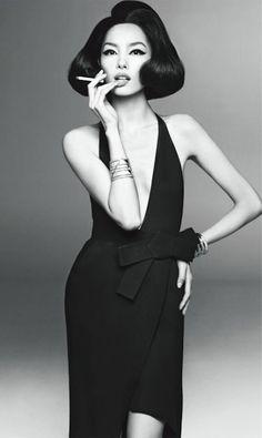 Fei Fei Sun for Vogue Italia by Steven Meisel. Black and white gorgeousness.