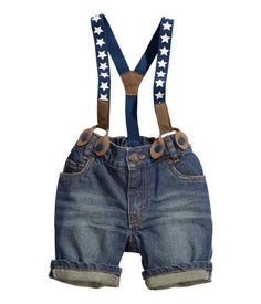 5 Pocket Jean shorts with Suspenders