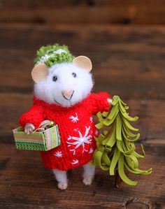 needle felted christmas mouse in sweater with by HouseOFFeltMouse