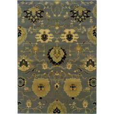 Oriental Weavers Transitional Gray Gold Polypropylene Floral Machine-Woven Area Rug