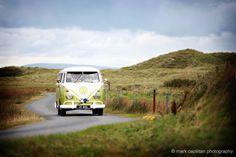 Green VW camper bus splity on way to Kilronan Castle Ireland wedding photographer sligo Wedding Cars, Ireland Wedding, Vw Camper, Castle, Green, Castles
