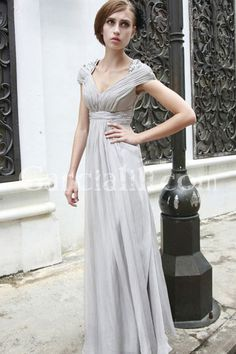 Silver Sheath/Column Cap Sleeve Floor-length Bridesmaid Dress