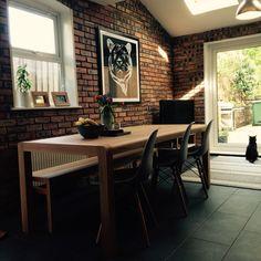 Habitat radius table & bench with Eames style chairs #habitatvoyeur #eames #habitat