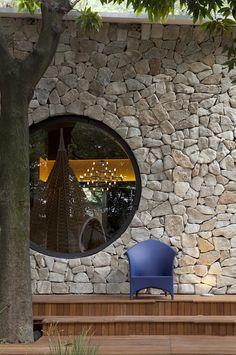Stone wall with circle windows