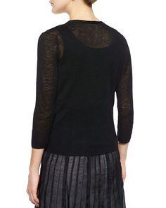 4-Way Linen-Blend Knit Cardigan, Petite